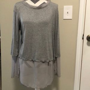 H by bordeaux Top Tunic Long Sleeve Gray